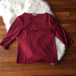 Ann Taylor Loft 3/4 Sleeve Red Top